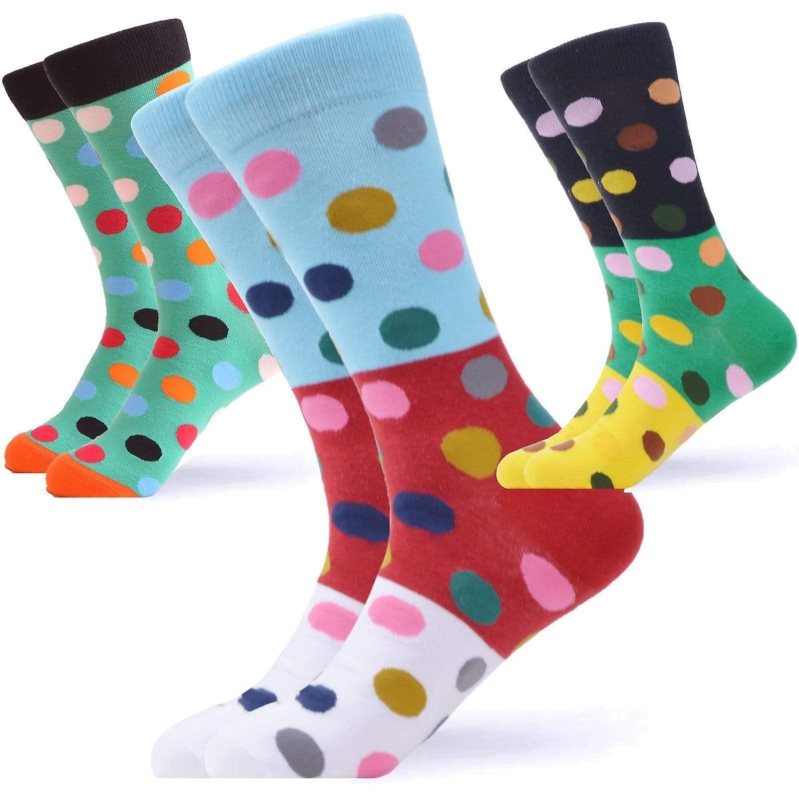 Men's bright dot pattern gift box 3 pairs of socks
