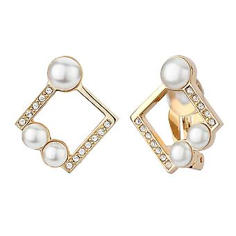 Traveller clip earring - 22ct gold plated - square - 114177