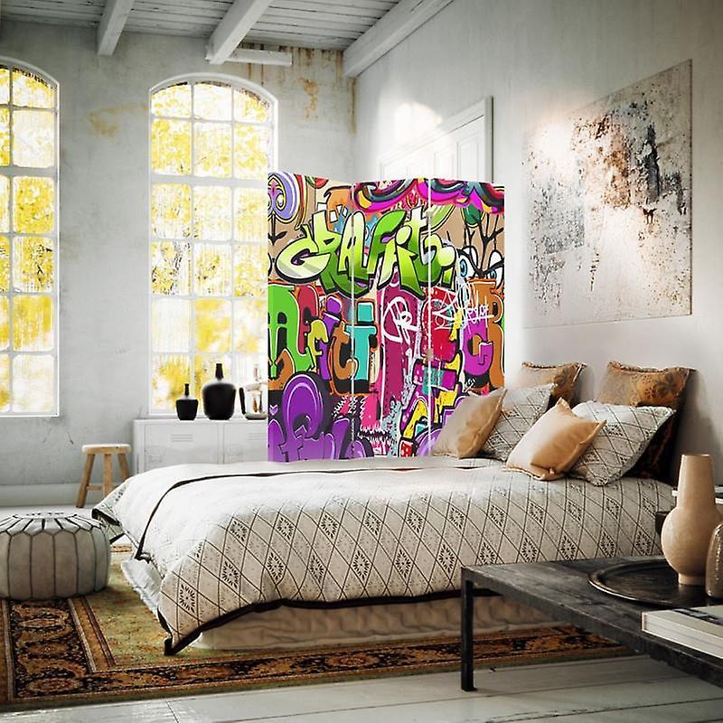 Diviseur de chambre, 3 panneaux, double-sided, 360 rotatable, toile, sous-titres abstraits 3