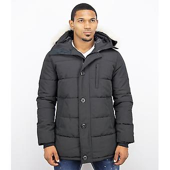 Winter coat - Parka With Fur Collar - Black