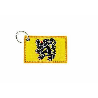 Porte Cle Cles Clef Brode Patch Ecusson Badge Drapeau Flandres Belgique Flamands