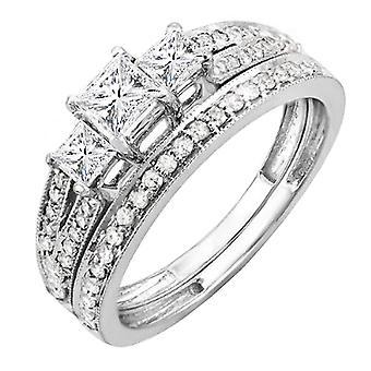Dazzlingrock Collection 1.00 Carat (ctw) 14K Princess Cut 3 Stone Diamond Engagement Bridal Ring Set 1 CT, White Gold