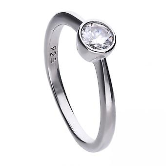 Diamonfire Silver White Zirconia Solitaire Ring R3646