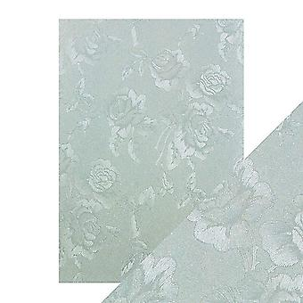 Tonic Studios Craft Perfect A4 Luxury Embossed Card, Duck Egg Toile, 30 x 21.5 x 0.5 cm
