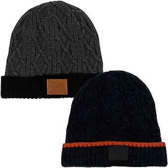 Animal Mens Bear Knitted Winter Warm Roll Up Woolly Cable Knit Beanie Hat