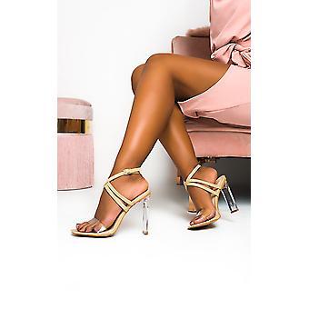 IKRUSH Womens Kylie Crossover Perspex Heels