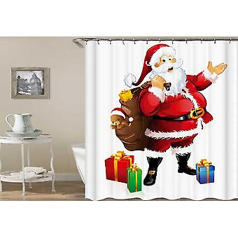Happy Santa Holding A Bag Full With Presents Shower Curtain