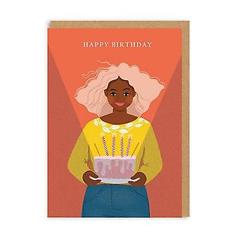Ohh Deer Woman With Birthday Cake Card