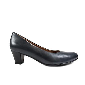 Caprice 22415 Navy Leather Womens Slip On Heeled Court Shoes