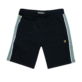 Junior Boys Lyle And Scott Taped Sweat Short In Navy- Ribbed Waistband- External