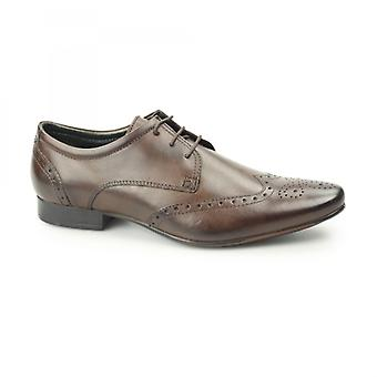 Silver Street London Fleet Mens Leather Pointed Brogues Brown