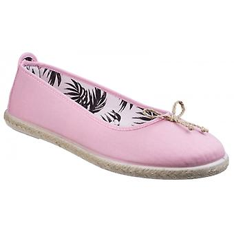Flossy Condor Ladies Canvas Slip On Ballerina Chaussures Baby Pink