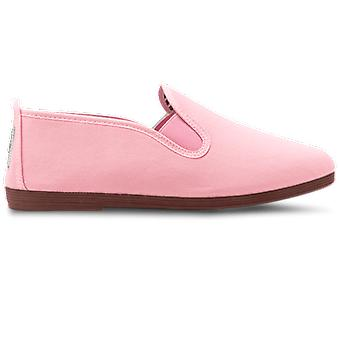 Flossy Arnedo Dames Canvas Slip On Plimsolls Baby Pink