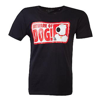 Familie kerel Beware van hond T-shirt mannelijk medium zwart (TS878706FOX-M)