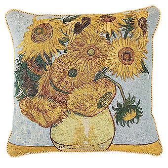 梵高太阳花垫盖 |挂毯垫 18x18 英寸 |乔夫-阿特-万戈格-3