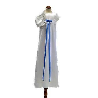 Dopklänning Med Dophätta Med Smal Blå Rosett  Pr.la