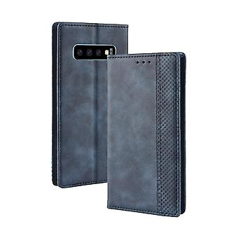 For Samsung Galaxy S10 Case,Retro Texture PU Leather Folio Wallet Cover,Blue