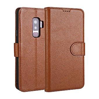 Für Samsung Galaxy S9 + PLUS Fall Mode Brieftasche Kuh echtes Leder Cover Kaffee