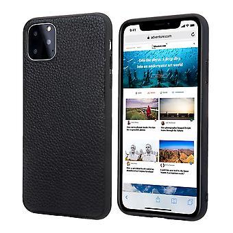 iPhone 11 Pro tapauksessa aitoa nahkaa kestävä slim fit suojakansi musta