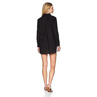 アンコール女性'sレディースボタンダウンボーイフレンドスイムカバー、黒、サイズ小さい
