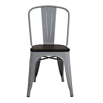 Charles Bentley Para industrialne drewno Top Jadalnia Krzesła Jasnoszary