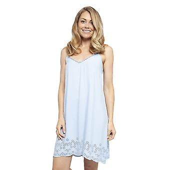 Cyberjammies 4404 Women's Olivia Blue Modal Embroidered Chemise