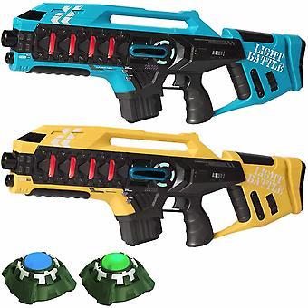2 Anti-Cheat lasergame geweren - blauw en geel + 2 targets