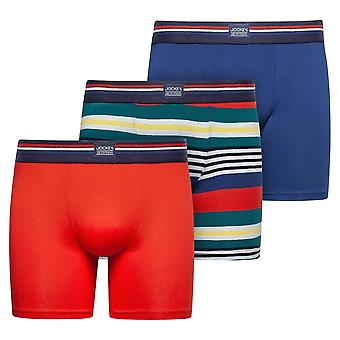 Jockey Cotton Stretch 3-Pack Boxer Trunks, Red Flame, X-Large