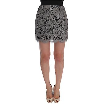 Dolce & Gabbana Gray Floral Lace Cotton Mini Skirt