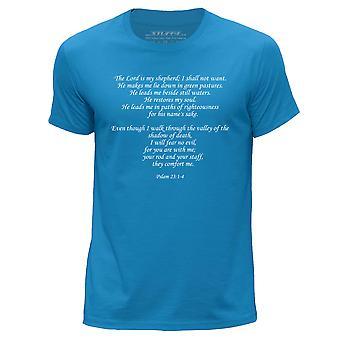 STUFF4 Men's Round Neck T-Shirt/Christian Bible Verse/Pslam 23/Blue