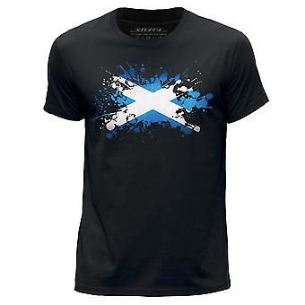 STUFF4 Miesten Pyöreä kaula T-paita/Skotlanti/Skotlannin lipun Splat/musta