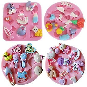 4 Pcs Silicone Cake Decoration Fondant Bakeware Mould Mold Birthday Party Baby & Cartoon Themed