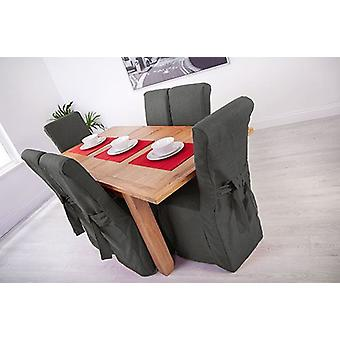 Slate Grey Linen Look Fabric Upholstered Slipcovers for Scroll Top Dining Chairs - 4 Pack