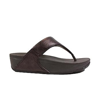 Fitflop Lulu Leather Chocolate Womens Slip On Toe Post Sandals