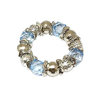 De Olivia collectie Womens blauw acrylaat parel Silvertone Stretch armband