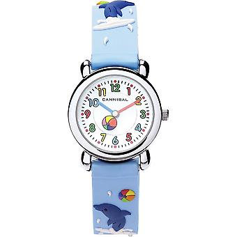 Cannibal Children Kids 3D Dolphins Design Blue Rubber Strap Watch CK199-13