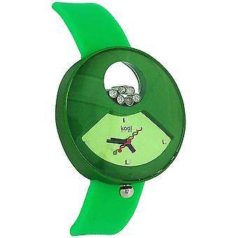 Kool Time Star Cluster Analogue Green Silicone Strap Ladies Fashion Watch KT50