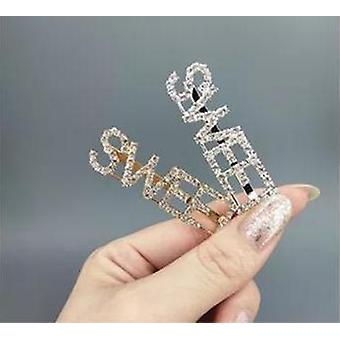 Hairpin with word ''Sweet'' in rhinestone color gold