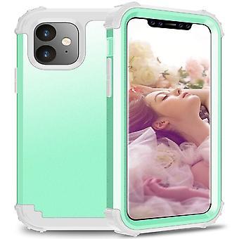 IPhone 11 PC + silikoni kolmiosainen anti-dropback kansi vihreä