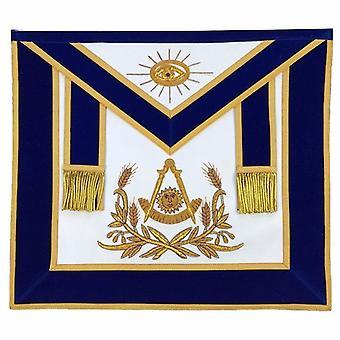 Masonic passé maître main brodé tablier or broderie velours