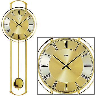 AMS 7083 Wall clock Quartz with pendulum brass colors modern pendulum clock metal