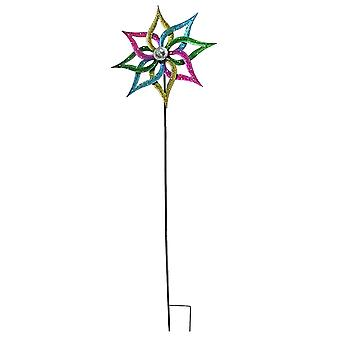 Brightly Painted Polka Dot Kinetic Wind Spinner Garden Stake 23.5 Inch Diameter