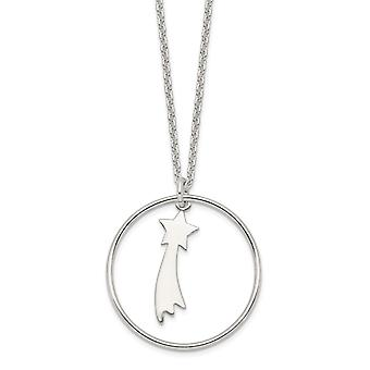 925 Sterling Silver Polished Shooting Star Circle Pendant Necklace 16 Inch Jewelry Gifts for Women