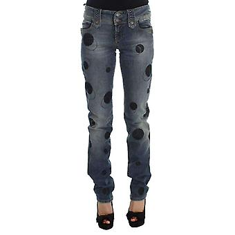 Galliano Blue Wash Cotton Blend Slim Fit Bootcut Jeans -- SIG3838640