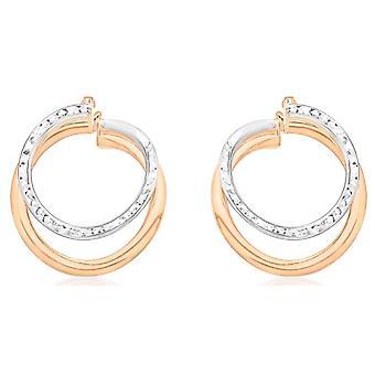 KJ Beckett diamante corte frontal hacia aretes - rosa oro/plata