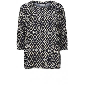 Masai Clothing Bonnie Navy & Cream Patterned Top