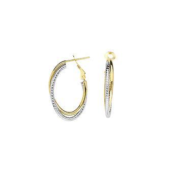 14k geel en wit goud verweven vlakte getextureerde Oval High Polish Omega Clip Oorbellen Sieraden Geschenken voor vrouwen