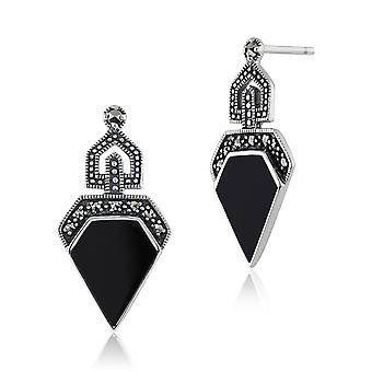 Art Deco Style Black Onyx Cabochon & Marcasite Drop Earrings in 925 Sterling Silver 214E648501925