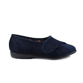 GBS Audrey Navy Velour Womens Adjustable Rip Tape Slippers