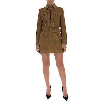 Saint Laurent 613645ycau22631 Women's Brown Suede Dress